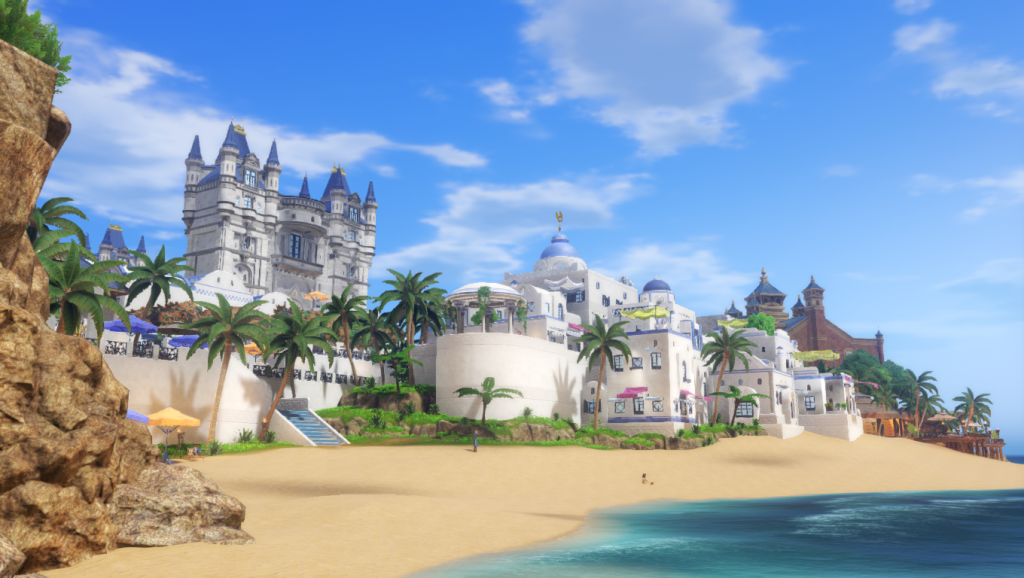 Beachfront of Puerto Valor, one of the many locales in the game.