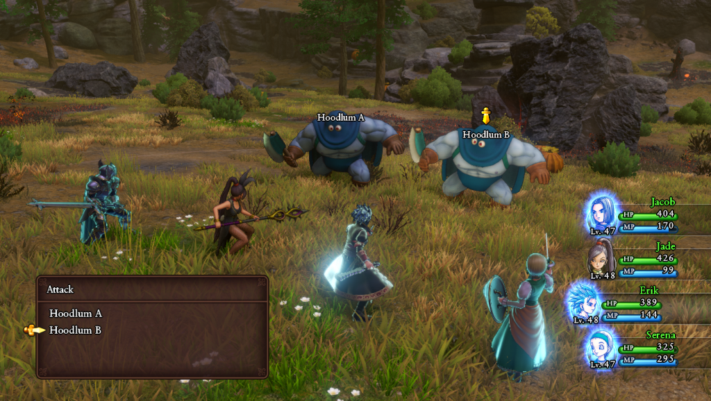A screenshot of the battle system. Four heroes face off against two hoodlums. That is, two axe wielding monsters wearing... hoods.